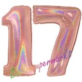 Zahl 17, holografisch, Rosegold, Luftballons aus Folie zum 17. Geburtstag, 100 cm, inklusive Helium