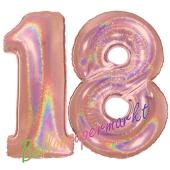 Zahl 18, holografisch, Rosegold, Luftballons aus Folie zum 18. Geburtstag, 100 cm, inklusive Helium
