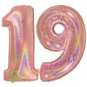 Zahl 19, holografisch, Rosegold, Luftballons aus Folie zum 19. Geburtstag, 100 cm, inklusive Helium