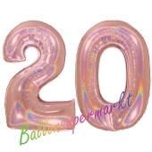 Zahl 20, holografisch, Rosegold, Luftballons aus Folie zum 20. Geburtstag, 100 cm, inklusive Helium