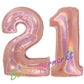 Zahl 21, holografisch, Rosegold, Luftballons aus Folie zum 21. Geburtstag, 100 cm, inklusive Helium