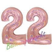 Zahl 22, holografisch, Rosegold, Luftballons aus Folie zum 22. Geburtstag, 100 cm, inklusive Helium