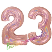Zahl 23, holografisch, Rosegold, Luftballons aus Folie zum 23. Geburtstag, 100 cm, inklusive Helium