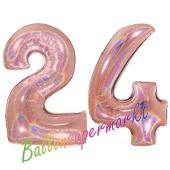 Zahl 24, holografisch, Rosegold, Luftballons aus Folie zum 24. Geburtstag, 100 cm, inklusive Helium