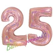 Zahl 25, holografisch, Rosegold, Luftballons aus Folie zum 25. Geburtstag, 100 cm, inklusive Helium