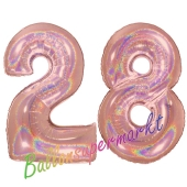 Zahl 28, holografisch, Rosegold, Luftballons aus Folie zum 28. Geburtstag, 100 cm, inklusive Helium