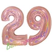 Zahl 29, holografisch, Rosegold, Luftballons aus Folie zum 29. Geburtstag, 100 cm, inklusive Helium