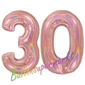 Zahl 30, holografisch, Rosegold, Luftballons aus Folie zum 30. Geburtstag, 100 cm, inklusive Helium