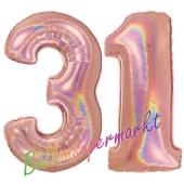 Zahl 31, holografisch, Rosegold, Luftballons aus Folie zum 31. Geburtstag, 100 cm, inklusive Helium