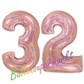 Zahl 32, holografisch, Rosegold, Luftballons aus Folie zum 32. Geburtstag, 100 cm, inklusive Helium