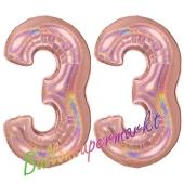 Zahl 33, holografisch, Rosegold, Luftballons aus Folie zum 33. Geburtstag, 100 cm, inklusive Helium