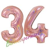 Zahl 34, holografisch, Rosegold, Luftballons aus Folie zum 34. Geburtstag, 100 cm, inklusive Helium
