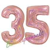 Zahl 35, holografisch, Rosegold, Luftballons aus Folie zum 35. Geburtstag, 100 cm, inklusive Helium
