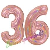 Zahl 36, holografisch, Rosegold, Luftballons aus Folie zum 36. Geburtstag, 100 cm, inklusive Helium