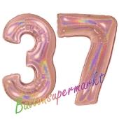 Zahl 37, holografisch, Rosegold, Luftballons aus Folie zum 37. Geburtstag, 100 cm, inklusive Helium