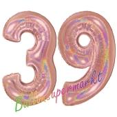 Zahl 39, holografisch, Rosegold, Luftballons aus Folie zum 39. Geburtstag, 100 cm, inklusive Helium