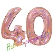 Zahl 40, holografisch, Rosegold, Luftballons aus Folie zum 40. Geburtstag