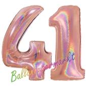 Zahl 41, holografisch, Rosegold, Luftballons aus Folie zum 41. Geburtstag, 100 cm, inklusive Helium