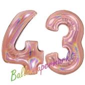 Zahl 43, holografisch, Rosegold, Luftballons aus Folie zum 43. Geburtstag, 100 cm, inklusive Helium