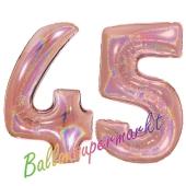 Zahl 45, holografisch, Rosegold, Luftballons aus Folie zum 45. Geburtstag, 100 cm, inklusive Helium