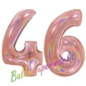 Zahl 46, holografisch, Rosegold, Luftballons aus Folie zum 46. Geburtstag, 100 cm, inklusive Helium