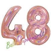 Zahl 48, holografisch, Rosegold, Luftballons aus Folie zum 48. Geburtstag, 100 cm, inklusive Helium