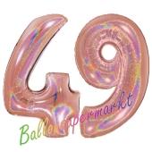 Zahl 49, holografisch, Rosegold, Luftballons aus Folie zum 49. Geburtstag, 100 cm, inklusive Helium