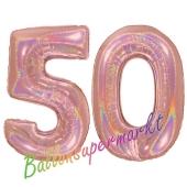 Zahl 50, holografisch, Rosegold, Luftballons aus Folie zum 50. Geburtstag, 100 cm, inklusive Helium