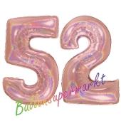 Zahl 52, holografisch, Rosegold, Luftballons aus Folie zum 52. Geburtstag, 100 cm, inklusive Helium