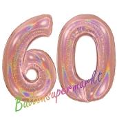 Zahl 60, holografisch, Rosegold, Luftballons aus Folie zum 60. Geburtstag, 100 cm, inklusive Helium