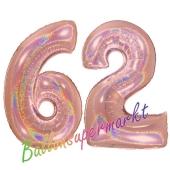 Zahl 62, holografisch, Rosegold, Luftballons aus Folie zum 62. Geburtstag, 100 cm, inklusive Helium
