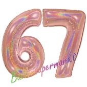 Zahl 67, holografisch, Rosegold, Luftballons aus Folie zum 67. Geburtstag, 100 cm, inklusive Helium