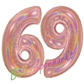Zahl 69, holografisch, Rosegold, Luftballons aus Folie zum 69. Geburtstag, 100 cm, inklusive Helium