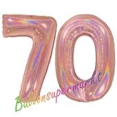 Zahl 70, holografisch, Rosegold , Luftballons aus Folie zum 70. Geburtstag, 100 cm, inklusive Helium