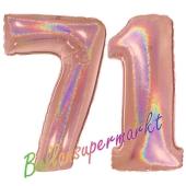 Zahl 71, holografisch, Rosegold, Luftballons aus Folie zum 71. Geburtstag, 100 cm, inklusive Helium