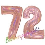 Zahl 72, holografisch, Rosegold, Luftballons aus Folie zum 72. Geburtstag, 100 cm, inklusive Helium