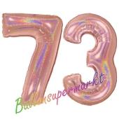 Zahl 73, holografisch, Rosegold, Luftballons aus Folie zum 73. Geburtstag, 100 cm, inklusive Helium