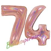 Zahl 74, holografisch, Rosegold, Luftballons aus Folie zum 74. Geburtstag, 100 cm, inklusive HeliumZahl 73, holografisch, Rosegold, Luftballons aus Folie zum 74. Geburtstag, 100 cm, inklusive Helium
