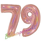 Zahl 79, holografisch, Rosegold, Luftballons aus Folie zum 79. Geburtstag, 100 cm, inklusive Helium