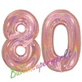 Zahl 80, holografisch, Rosegold, Luftballons aus Folie zum 80. Geburtstag, 100 cm, inklusive Helium
