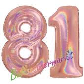 Zahl 81, holografisch, Rosegold, Luftballons aus Folie zum 81. Geburtstag, 100 cm, inklusive Helium