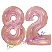 Zahl 82, holografisch, Rosegold, Luftballons aus Folie zum 82. Geburtstag, 100 cm, inklusive Helium