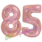Zahl 85, holografisch, Rosegold, Luftballons aus Folie zum 85. Geburtstag, 100 cm, inklusive Helium
