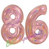Zahl 86, holografisch, Rosegold, Luftballons aus Folie zum 86. Geburtstag, 100 cm, inklusive Helium