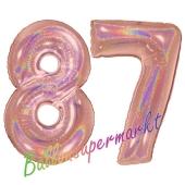 Zahl 87, holografisch, Rosegold, Luftballons aus Folie zum 87. Geburtstag, 100 cm, inklusive Helium