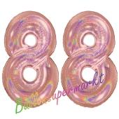 Zahl 88, holografisch, Rosegold, Luftballons aus Folie zum 88. Geburtstag, 100 cm, inklusive Helium