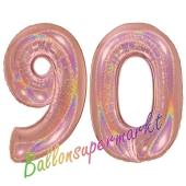 Zahl 90, holografisch, Rosegold, Luftballons aus Folie zum 90. Geburtstag, 100 cm, inklusive Helium