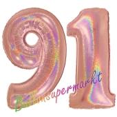Zahl 91, holografisch, Rosegold, Luftballons aus Folie zum 91. Geburtstag, 100 cm, inklusive Helium