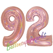 Zahl 92, holografisch, Rosegold, Luftballons aus Folie zum 92. Geburtstag, 100 cm, inklusive Helium