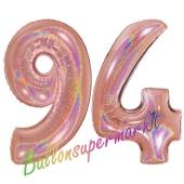 Zahl 94, holografisch, Rosegold, Luftballons aus Folie zum 94. Geburtstag, 100 cm, inklusive Helium